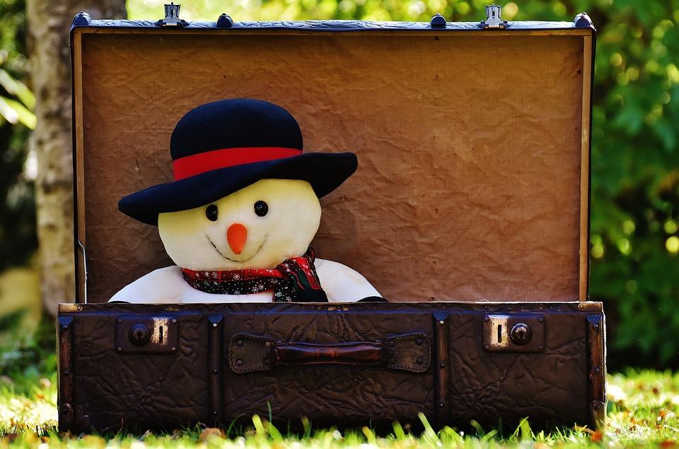 Schneemann geht auf Reisen in einem Koffer